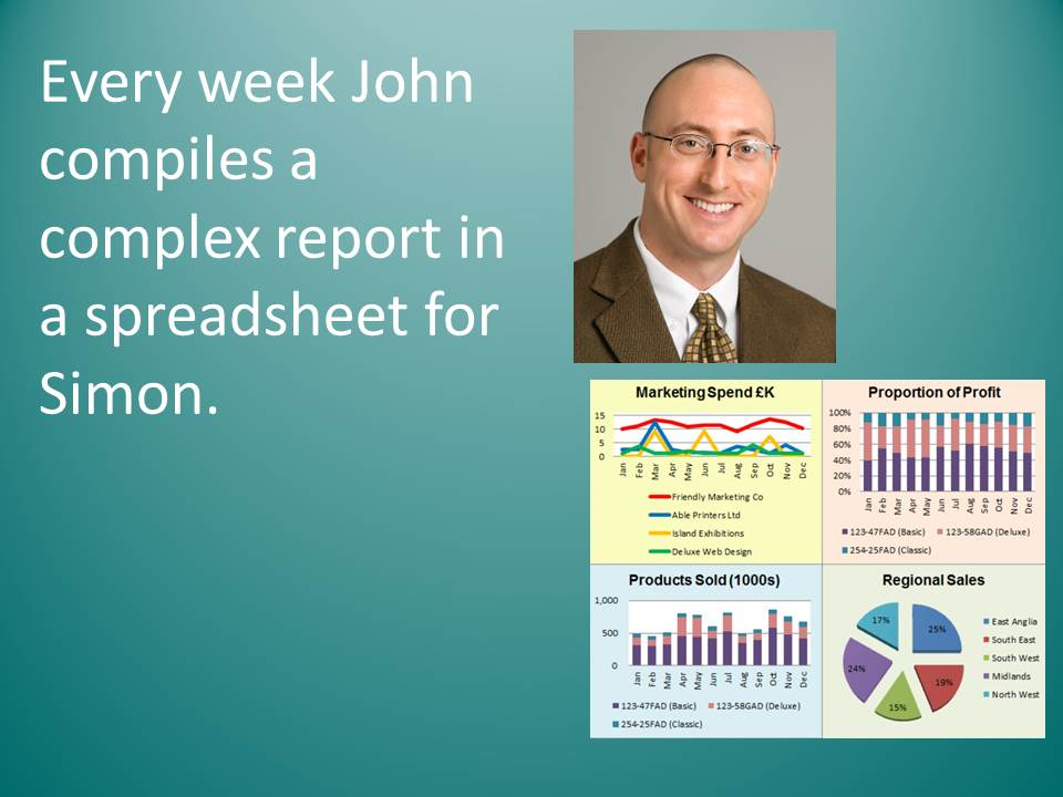 John does a sales report every week