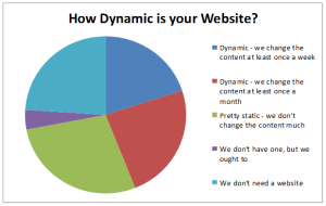 Pie chart showing how often does a business change its website?