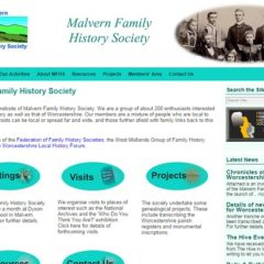 Malvern Family History Society website