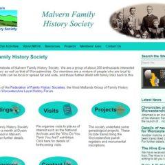 Malvern Family History Society website