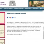 Screen shot of Malvern Museum website created by Nepeta Consulting