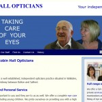 Screen shot of Robin Hall Opticians website by Nepeta Consulting