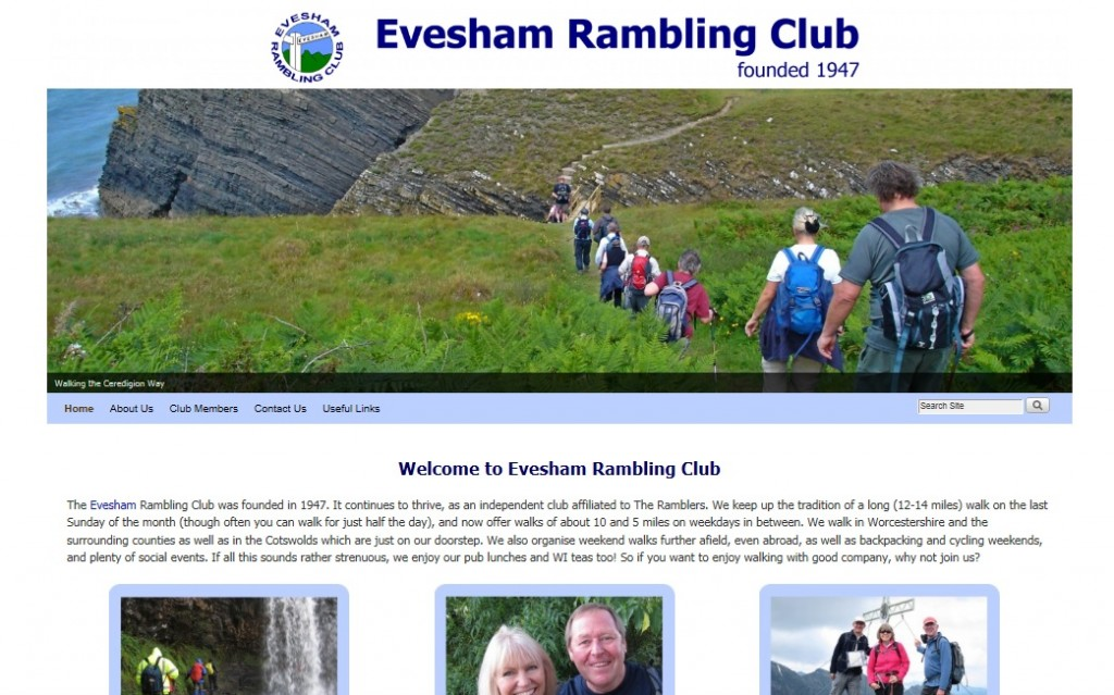 Evesham Rambling Club website designed by Nepeta Consulting