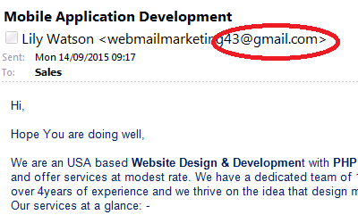 A marketing email with a gmail address - would you use them?