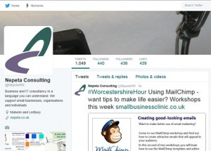 Screen shot of the Nepeta Consulting Twitter page