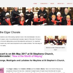 Screen shot of Elgar Chorale website, created by Nepeta Consulting