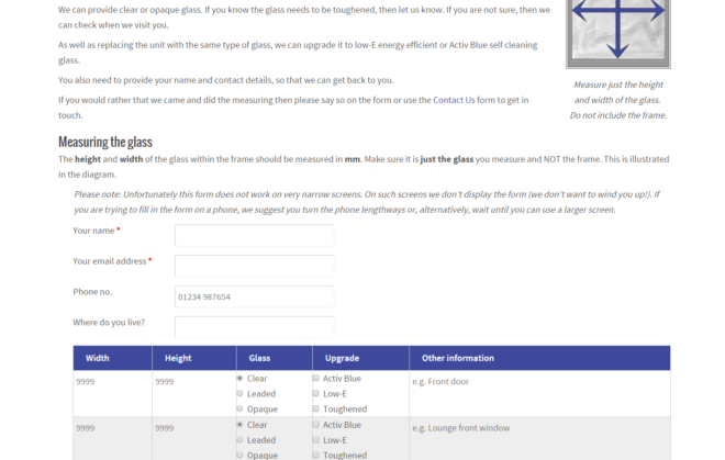 Screenshot of form on jonesupvc.com - complex form created by Nepeta Consulting