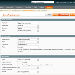 The Magento export screen. Some of the options are not obvious. Nepeta Consulting can help.