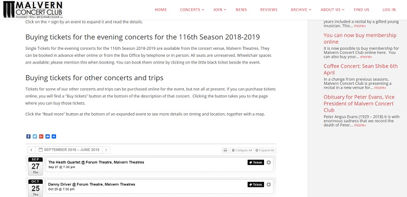 Concerts calendar page of Malvern Concert Club website - created by Nepeta Consulting