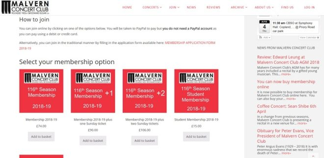 Buying membership page of Malvern Concert Club website - created by Nepeta Consulting