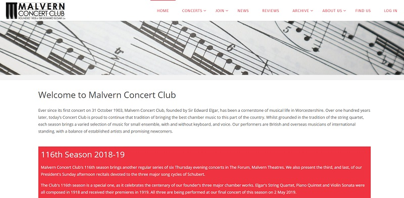 Home page of Malvern Concert Club website - created by Nepeta Consulting