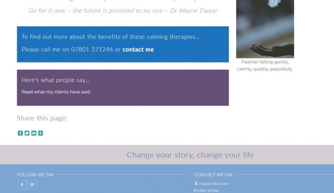 Part of home page of Mel Harris Hypnotherapy