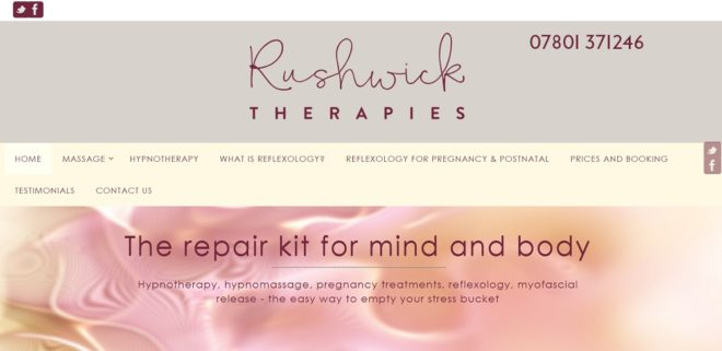 Rushwick Therapies home page top - website by Nepeta Consulting
