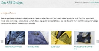The Sewing Room portfolio page screenshot