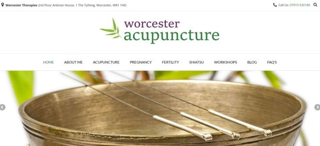 Worcester Acupuncture - front page top - website by Nepeta Consulting