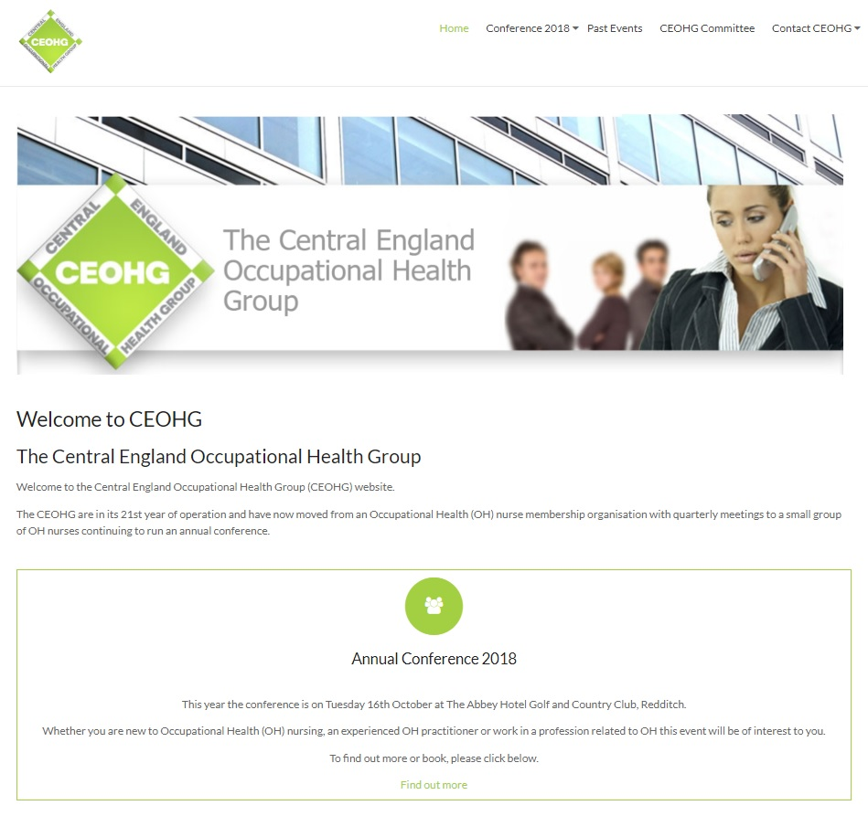 CEOHG front page of website - created by Nepeta Consulting
