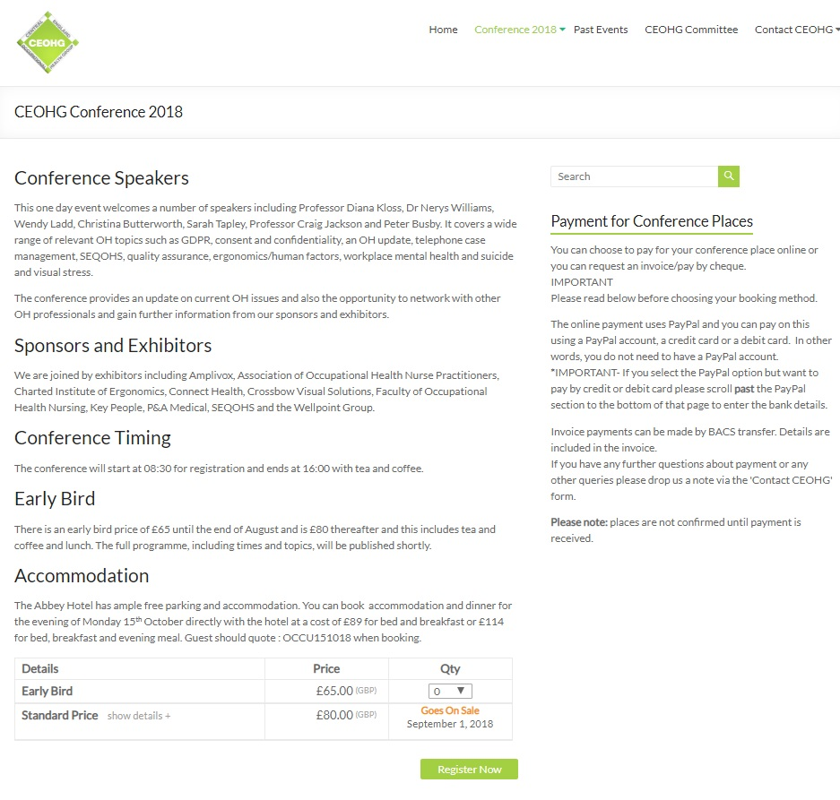 CEOHG conference page - created by Nepeta Consulting