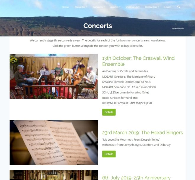 Concerts for craswall website 2018 - concerts page - website by Nepeta Consulting