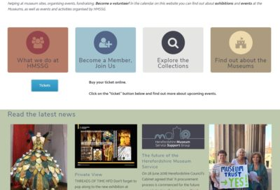 Middle part of the home page of Hereforshire Museum Support Services Group - created by Nepeta Consulting