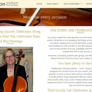 Front page for celebration string quartet - a website created by Nepeta Consulting