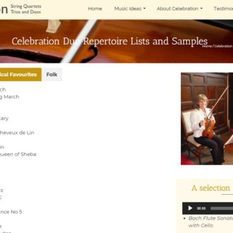 Playlist for celebration string quartet - a website created by Nepeta Consulting