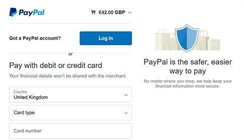 The PayPal checkout screen with options to login or pay by card