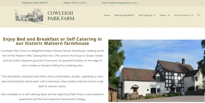 Cowleigh Park Farm - top of home page. DEveloped by Nepeta Consulting