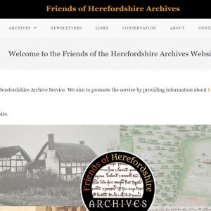 Friends of Herefordshire Archives - home page of website, designed by Nepeta Consulting