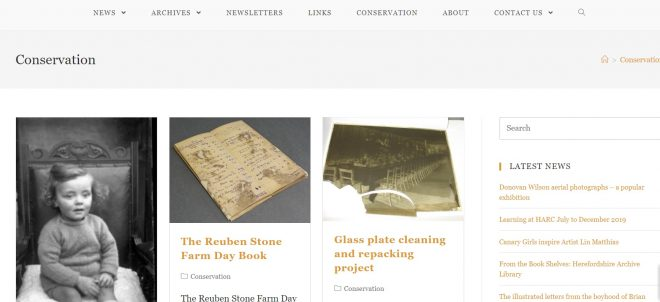 Friends of Herefordshire Archives - conservation projects page of website, designed by Nepeta Consulting
