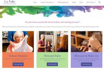 Lisa Fisher website - multi-coloured servicespage - designed by Nepeta Consulting