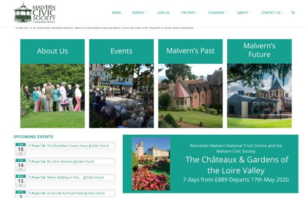 Malvern Civic Society - home page, middle - developed by Nepeta Consulting