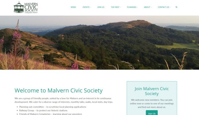 Malvern Civic Society - home page, top - developed by Nepeta Consulting