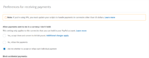 Currency payment options for PayPal as described by Nepeta Consulting