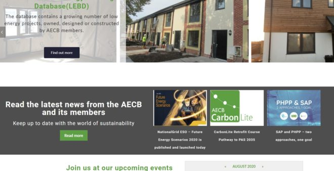 AECB Front page portion - a website designed and maintained by Nepeta Consulting