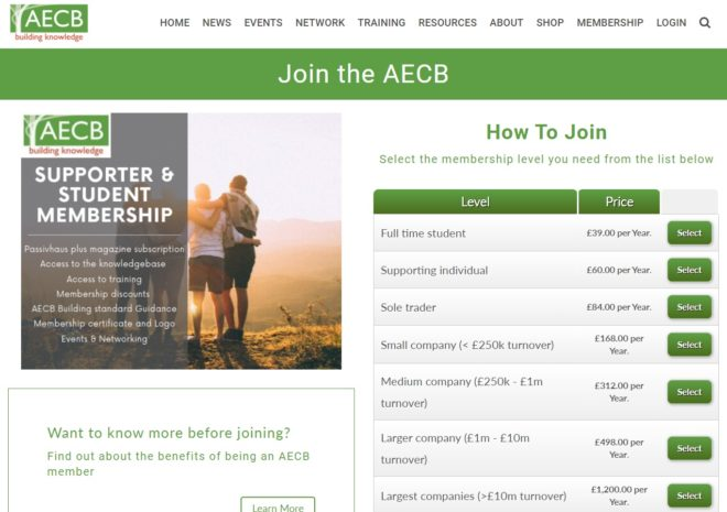 AECB Join page - a website designed and maintained by Nepeta Consulting
