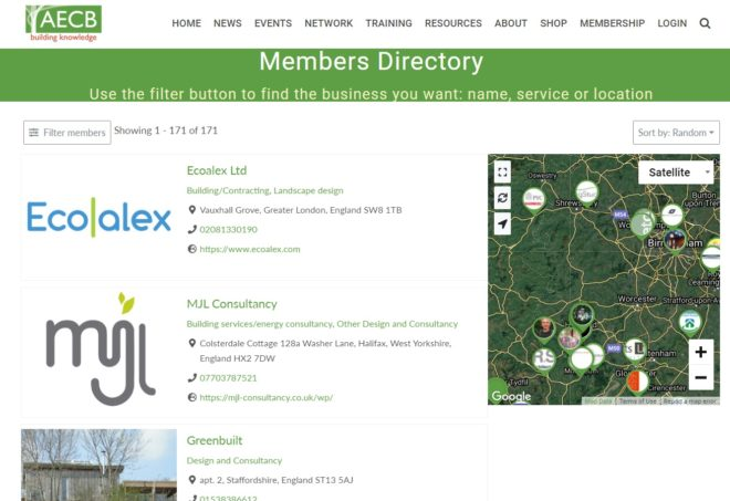 AECB Members Directory - a website designed and maintained by Nepeta Consulting