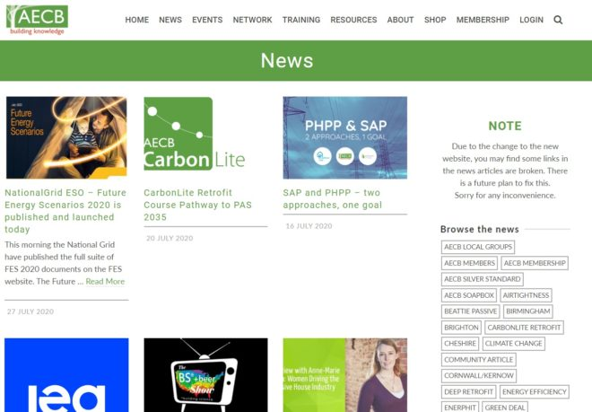 AECB News page - a website designed and maintained by Nepeta Consulting