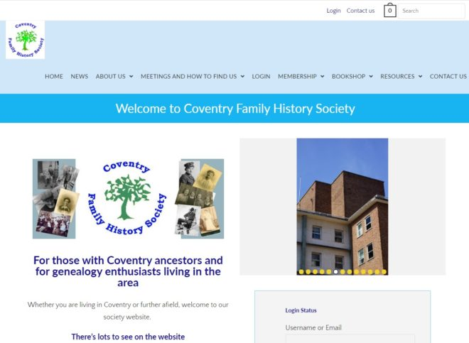 Front page Coventry Family History website by Nepeta Consulting