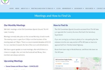 Meetings page Coventry Family History website by Nepeta Consulting