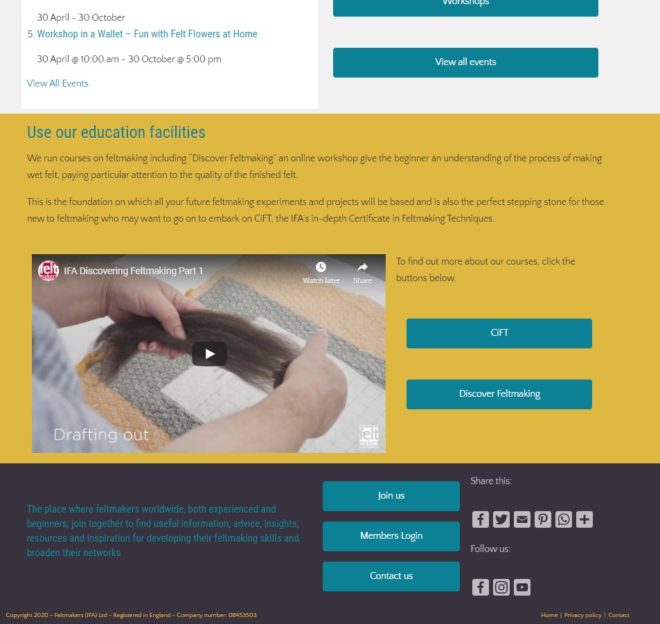 International Feltmakers Association bottom of home page - a website designed and maintained by Nepeta Consulting
