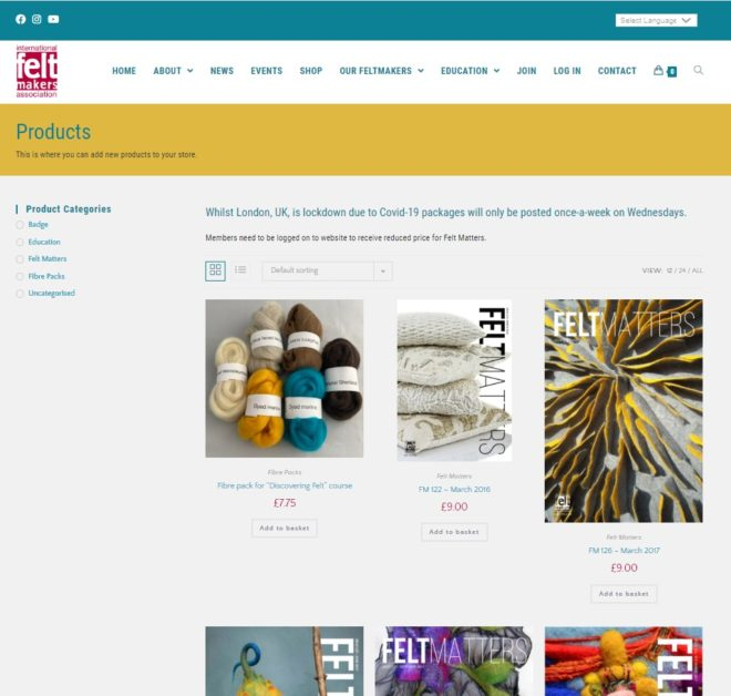 International Feltmakers Association shop - a website designed and maintained by Nepeta Consulting