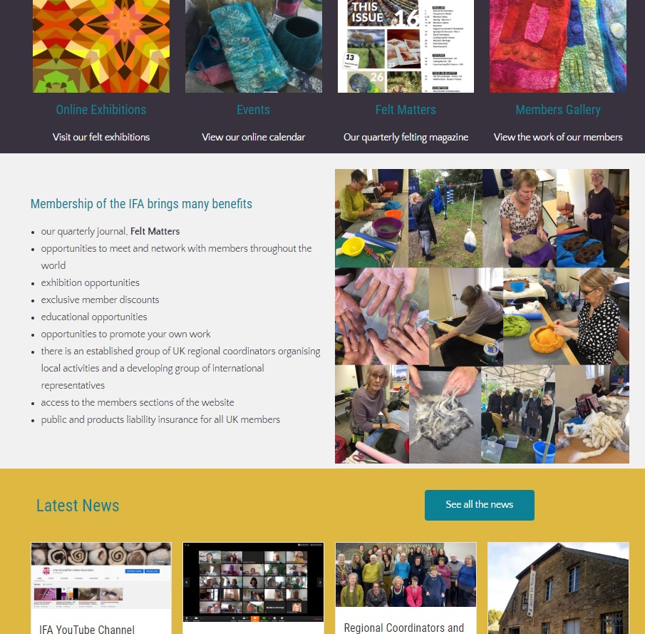 International Feltmakers Association middle of home page - a website designed and maintained by Nepeta Consulting