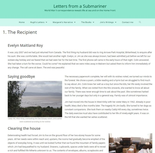Letters from a submariner - sample page - a website by Nepeta Consulting