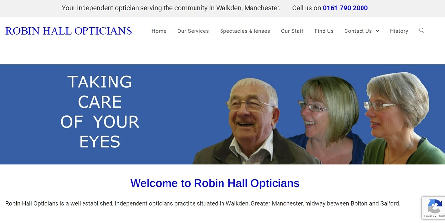 Screen shot of the Robin Hall Opticians website by Nepeta Consulting