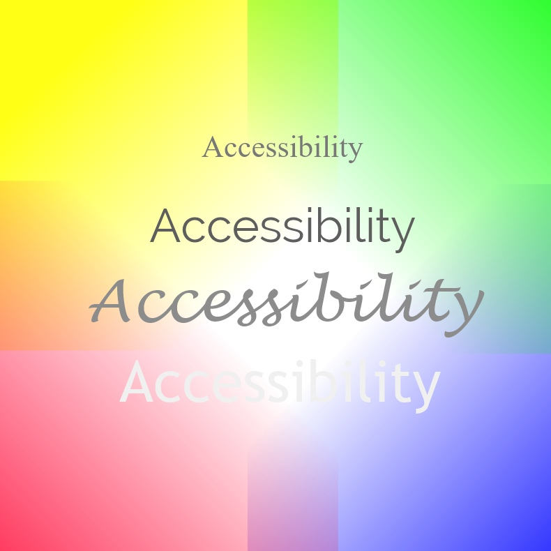 Image showing how accessibility is affected by different fonts on different colours - make sure your website is accessible.  Nepeta Consulting
