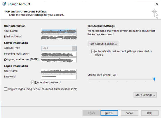 Change Email Account screen allows you to change your password