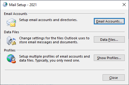 Mail setup 2021 screen gives you access to the Change Account screen
