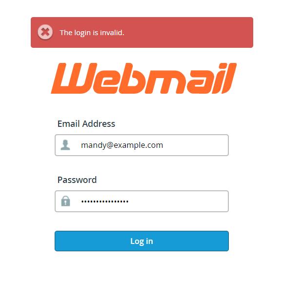 webmail login screen with error